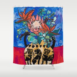 Lions and Tigers Vase with Protea Bouquet Shower Curtain