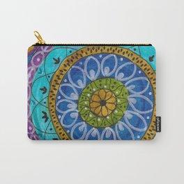 Splotch Art Mandala Turquoise Carry-All Pouch
