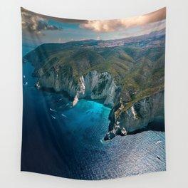 Earth's footprint (Coastline of Greece) Wall Tapestry