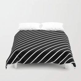 Hot 80s Style Diagonal Black and White Geometric Pattern Duvet Cover