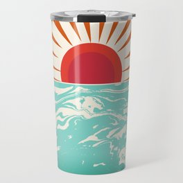 Keepin' It Real - retro 70s vibes throwback ocean sunset sunrise socal surfing beach life 1970's Travel Mug