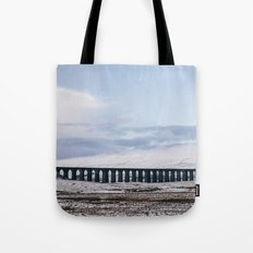 Snow and Moon over the Ribblehead Viaduct. Settle to Carlisle Railway, North Yorkshire, UK. Tote Bag