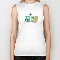 bmo Biker Tanks featuring BMO & Macintosh by solostudio