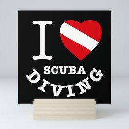 I Love Scuba Diving, Scuba Diving t shirt, black background Mini Art Print