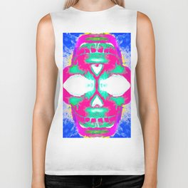 smiling pink skull head with blue and yellow background Biker Tank