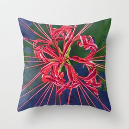 Red Spider Lily Watercolor Floral Art Throw Pillow