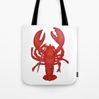 lobster Tote Bags featuring Lobster by Fischer Fine Arts