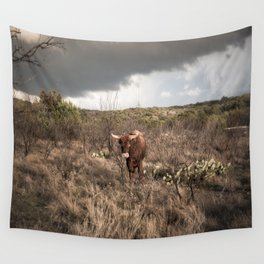 Stare Down - A Texas Bull in the Mesquite and Cactus Wall Tapestry
