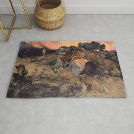 13,000px,500dpi-Arnold Bocklin - Astolf Riding Away with the Head of Orill - Digital Remastered Edition Rug