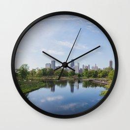 Lincoln Park Blue Sky Mornings Wall Clock