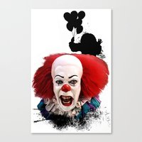 pennywise Canvas Prints featuring Pennywise the Clown: Monster Madness Series by SB Art Productions