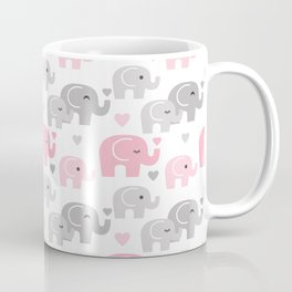 Pink Gray Elephant Baby Girl Nursery Coffee Mug
