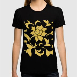 Oriental Flower - Mustard Yellow On White Background T-shirt