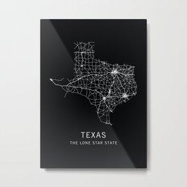 Texas State Road Map Metal Print
