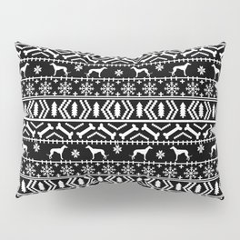 Greyhound fair isle christmas holidays pattern black and white dog gifts Pillow Sham
