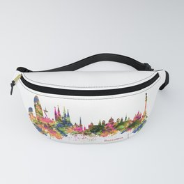 Barcelona Watercolor Skyline Fanny Pack