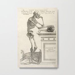Andreas Vesalius Human Anatomy- Skeleton Contemplating A Skull Metal Print