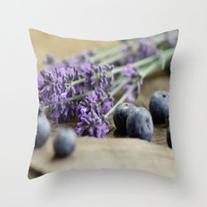Blueberries, lavender flowers Symphony Throw Pillow