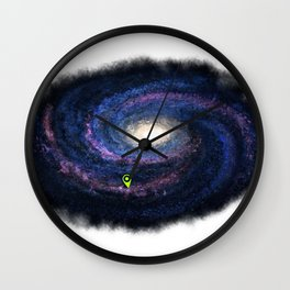 We are here purple Wall Clock