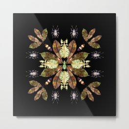 Magnolia Leaves and Insect Camoflage Pattern I Metal Print