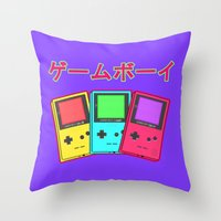 gameboy Throw Pillows featuring Gameboy by Chrome