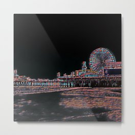 Stained Glass Santa Monica Pier Metal Print