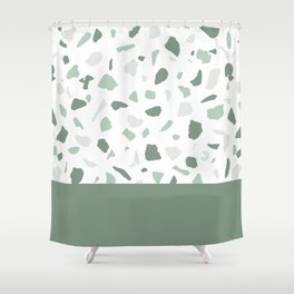 abstract terrazzo stone memphis pattern with colourblocking sage Shower Curtain