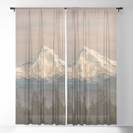 Mount Hood Vintage Sunset - Nature Landscape Photography Sheer Curtain