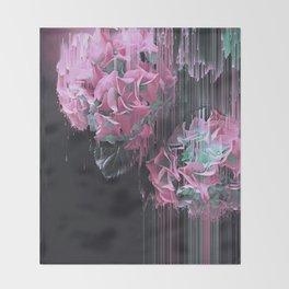 Glitch Pink Hydrangea Throw Blanket