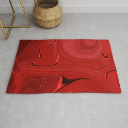 Red Liquid Marble Swirling Pattern Texture Artwork #3 Rug
