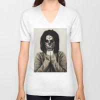 bjork V-neck T-shirts featuring Bjork skull by Sincere