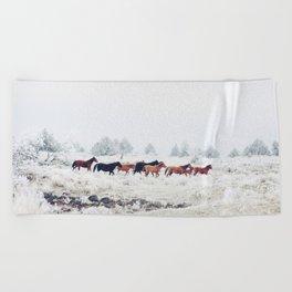 Winter Horse Herd Beach Towel