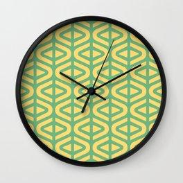 Mid Century Modern Split Triangle Pattern Green and Yellow 2 Wall Clock