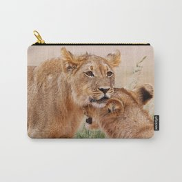Two young lions - Africa wildlife Carry-All Pouch