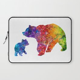 Mother Bear and Cub Art Colorful Watercolor Art Gift Mothers Art Kids Gift Animals Art Widlife Art Laptop Sleeve