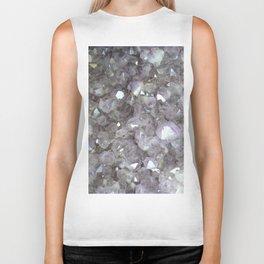 Sparkling Clear Light Purple Amethyst Crystal Stone Biker Tank