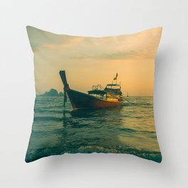 Dreamy fishing boat at sea in the early morning Throw Pillow