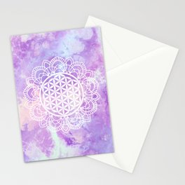Flower Of Life (Soft Lavenders) Stationery Cards