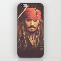 jack sparrow iPhone & iPod Skins featuring Jack Sparrow Digital Painting by Visionary Sea
