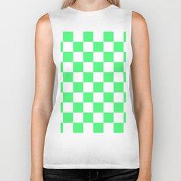 Cheerful Green Checkerboard Pattern Biker Tank