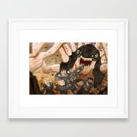 gears of war Framed Art Prints featuring RUN GEARS RUN by Colton Balske