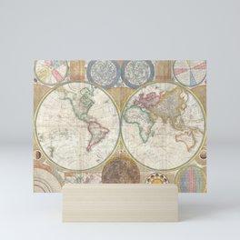 Samuel Dunn Wall Map of the World in Hemispheres c.1794 Mini Art Print