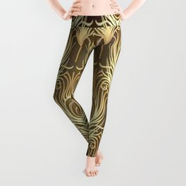 Golden Art Deco print Leggings
