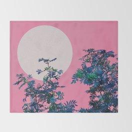 Pink sky and rowan tree Throw Blanket