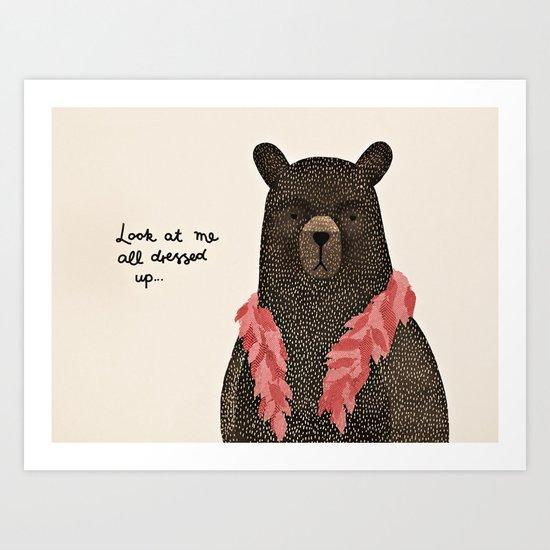 Bear Dress Up Boa Art Print