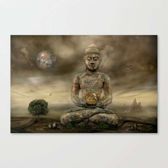 Buddha in the sand Canvas Print