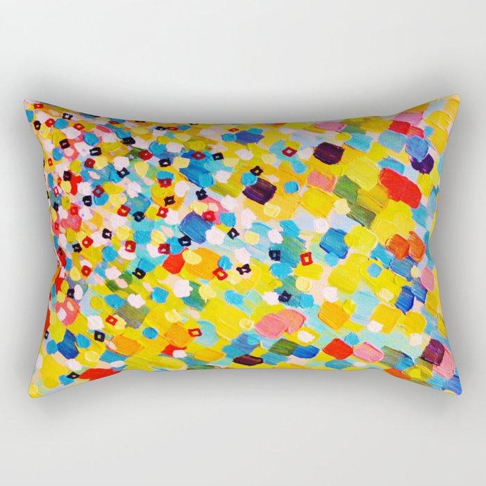SWEPT AWAY 2 - Vibrant Colorful Rainbow Mango Yellow Waves Mermaid Splash Abstract Acrylic Painting Rectangular Pillow
