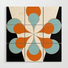 Mid-Century Modern Art 1.4 Aqua Orange Flower Wood Wall Art