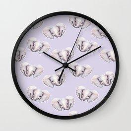 Elephant Light Purple Pattern, Safari Baby Animals, Cute Nursery Animals Decor Wall Clock