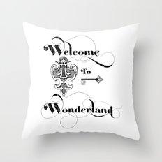 Alice In Wonderland Welcome To Wonderland Throw Pillow